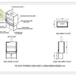 Bản vẽ Cad 2d tủ hút hóa chất phòng thí nghiệm