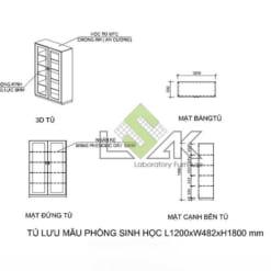 Bản vẽ Cad 2D tủ lưu mẫu phòng thí nghiệm