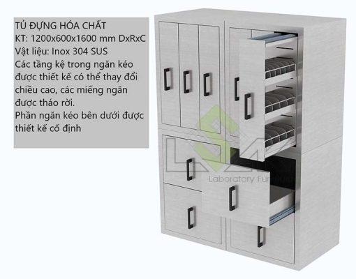 tủ đựng hóa chất 1200x1600x1600mm