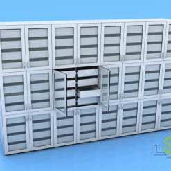 Tủ lưu mẫu cửa kính chia nhiều ngăn