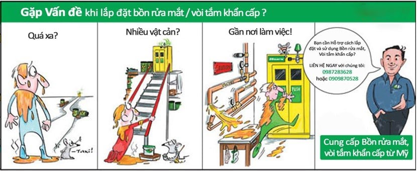 bồn rửa mắt khẩn cấp và vòi tắm khẩn cấp