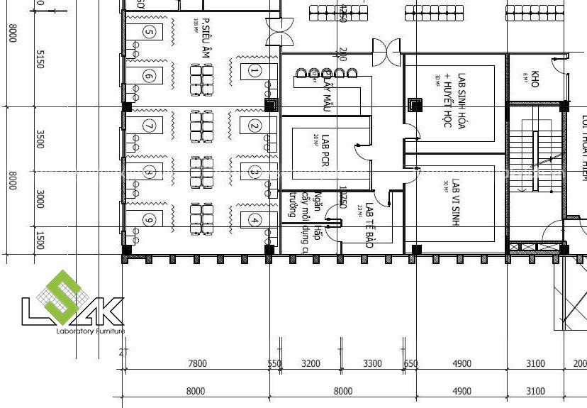 Thiết kế nội thất phòng xét nghiệm cho phòng khám đa khoa