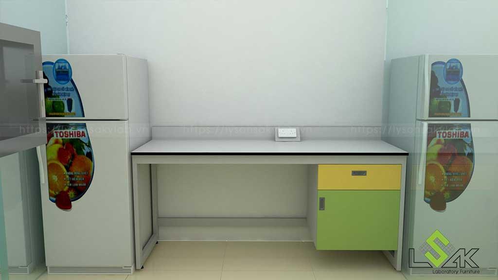 Bàn thí nghiệm áp tường phòng xét nghiệm di truyền bệnh viện sản nhi Quảng Ninh