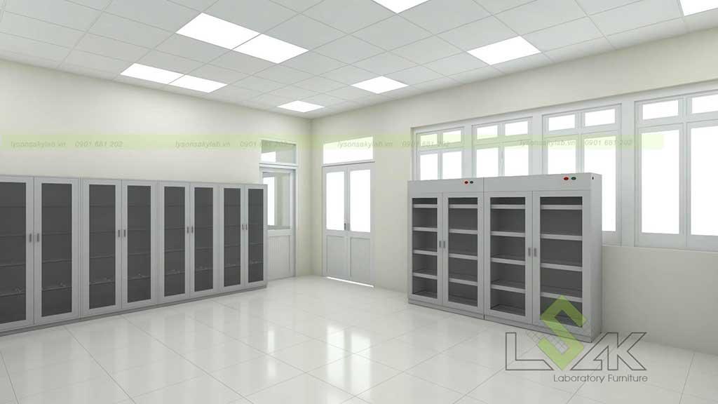 hệ thống tủ lưu mẫu, tủ đựng hóa chất phục vụ cho học tập