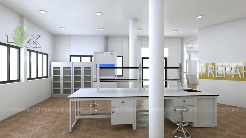 bàn thí nghiệm trung tâm tủ đựng hóa chất tủ hút khí độc phòng thí nghiệm hóa lý sinh trường học