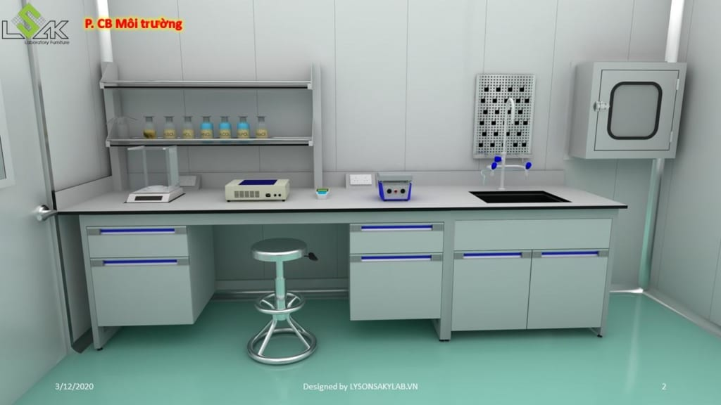 bàn thí nghiệm áp tường phòng chuẩn bị môi trường
