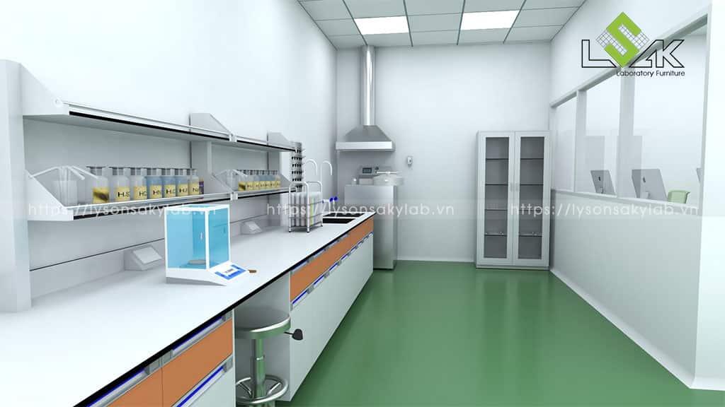 bàn thí nghiệm áp tường có giá kệ để dụng hóa chất