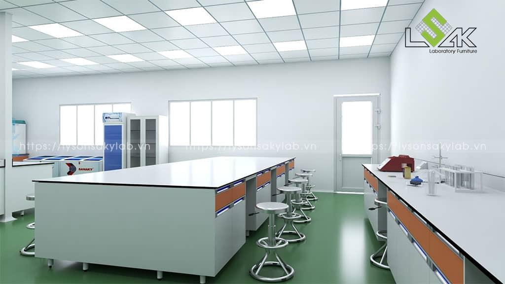 Bàn thí nghiệm trung tâm phòng lab thực phẩm chức năng Long Thành