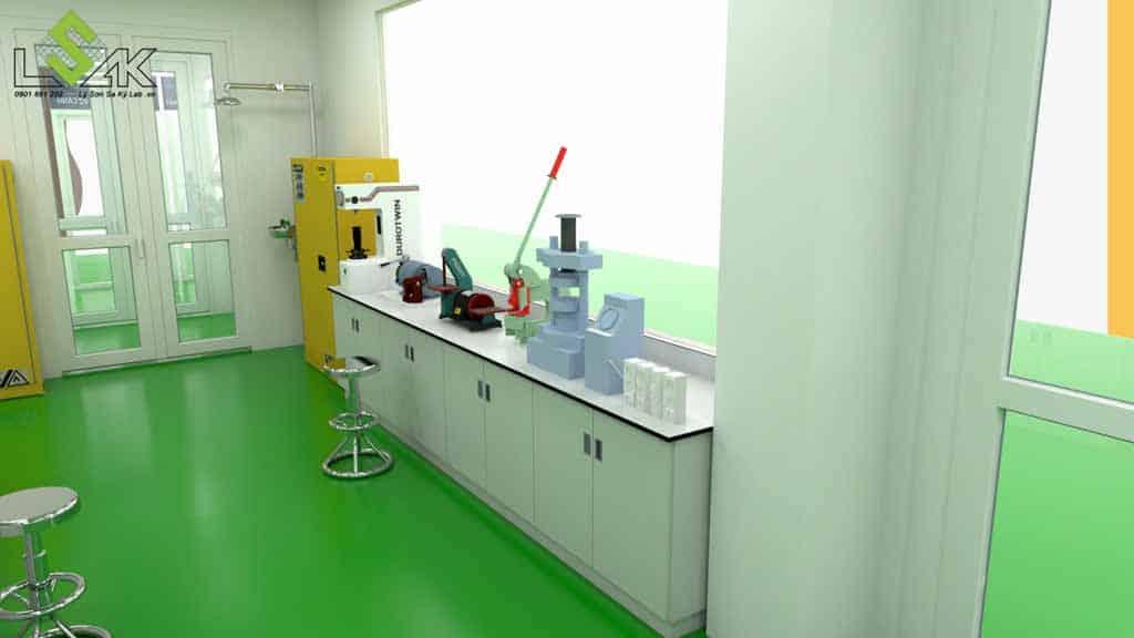 bàn thí nghiệm áp tường phòng thí nghiệm công ty keo dính