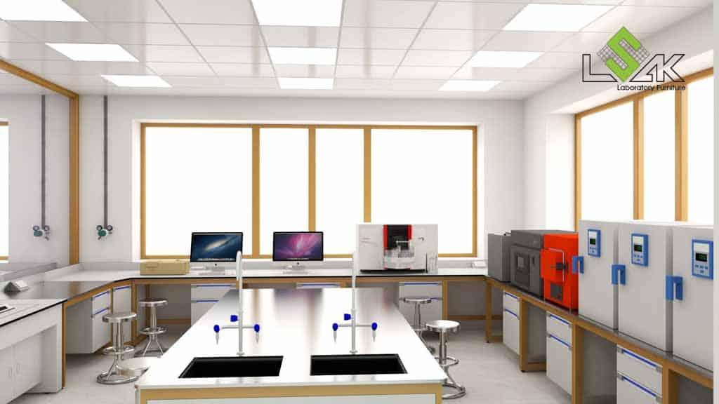 Bàn thí nghiệm trung tâm có bồn rửa phòng thí nghiệm nhà máy xi măng