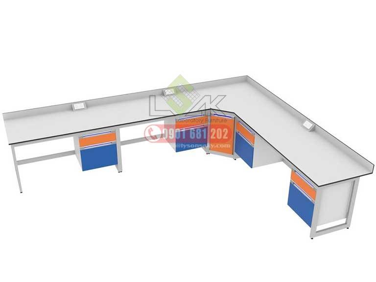 Thiết kế cung cấp nội thất bàn thí nghiệm chữ L