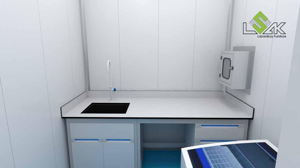 bàn thí nghiệm áp tường có bồn rửa phòng thí nghiệm nuôi trồng thủy sản