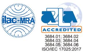Dấu hiệu ILAC-MRA A2LA trên phiếu kết quả thử nghiệm của VinaCert
