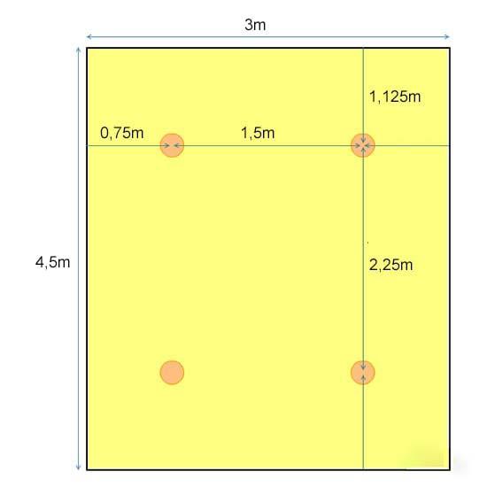 Khoảng cách và vị trí lắp đặt với 4 đèn led 10w