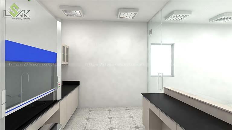 3D bố trí nội thất phòng thí nghiệm công ty Apex Material Việt Nam