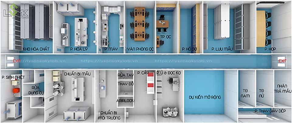 Phối cảnh 3D mặt bằng bố trí nội thất thiết bị phòng thí nghiệm nhà máy dược phẩm