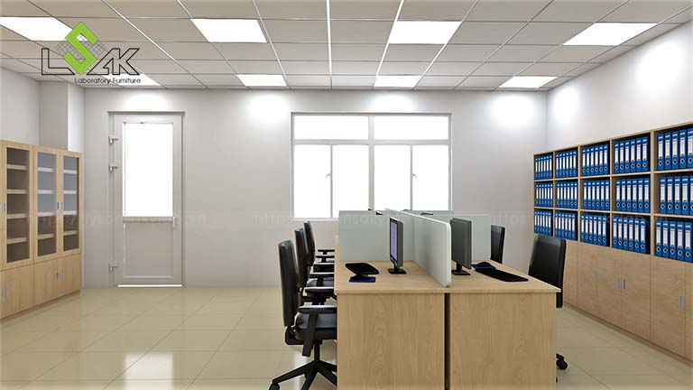 bàn làm việc phòng R&D công ty tã giấy