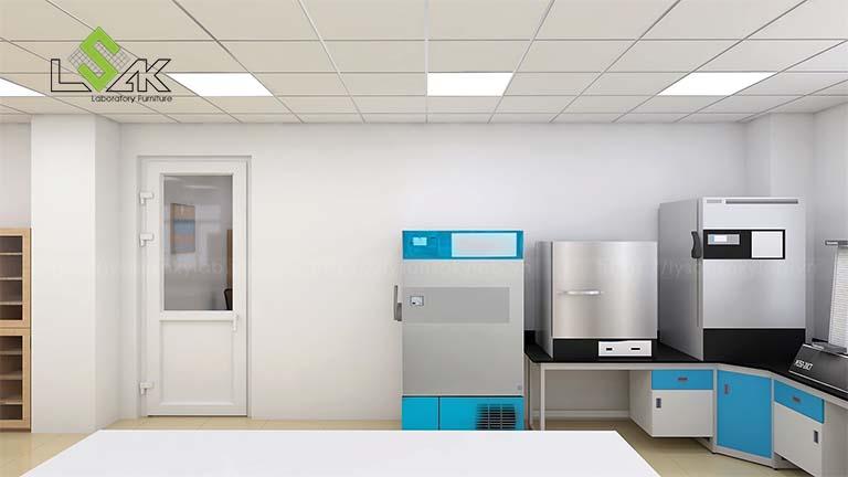 bàn thí nghiệm áp tường phòng R&D công ty tã giấy