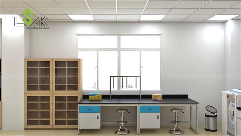 bàn thí nghiệm áp tường hộc tủ treo phòng R&D công ty tã giấy