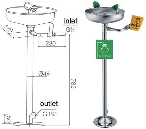 kích thước bồn rửa mắt khẩn cấp chân đứng WJH0359