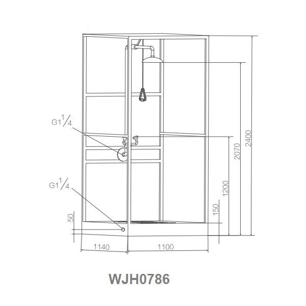 Kích thước buồng rửa mắt và tắm khẩn cấp toàn thân WJH0786