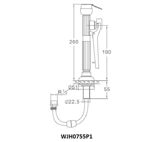 kích thước vòi rửa mắt phòng thí nghiệm WJH0755P1
