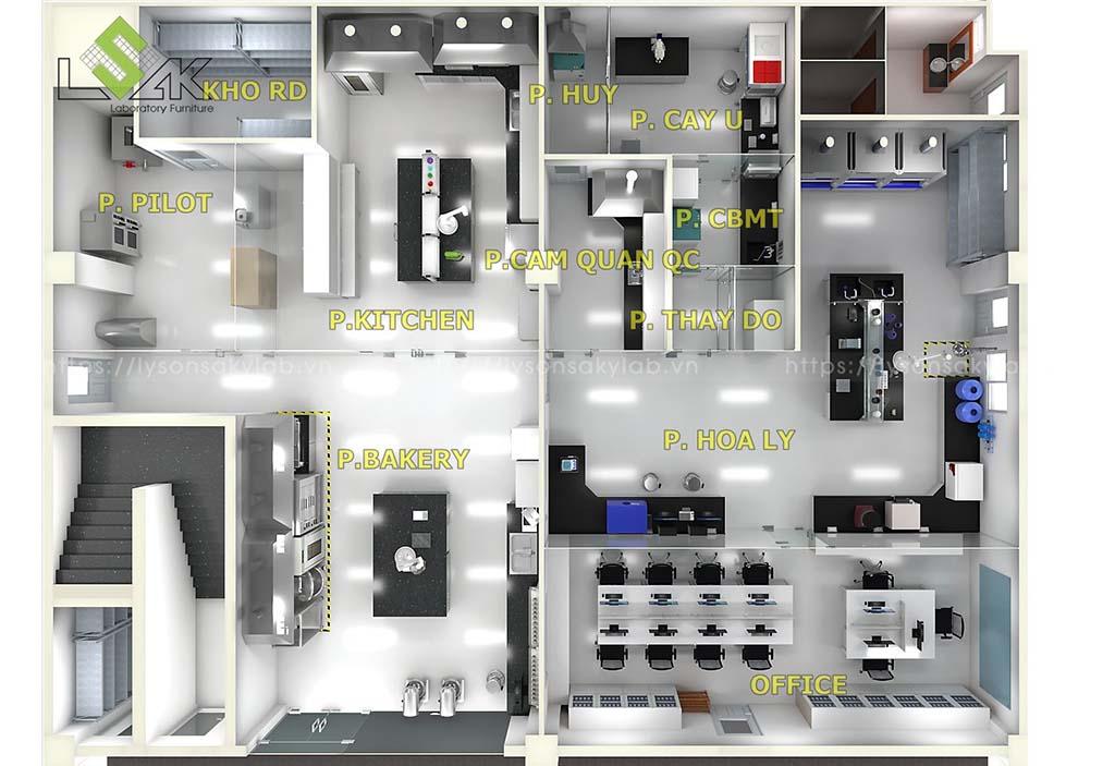 Mặt bằng bố trí nội thất thiết bị phòng thí nghiệm nhà máy thực phẩm
