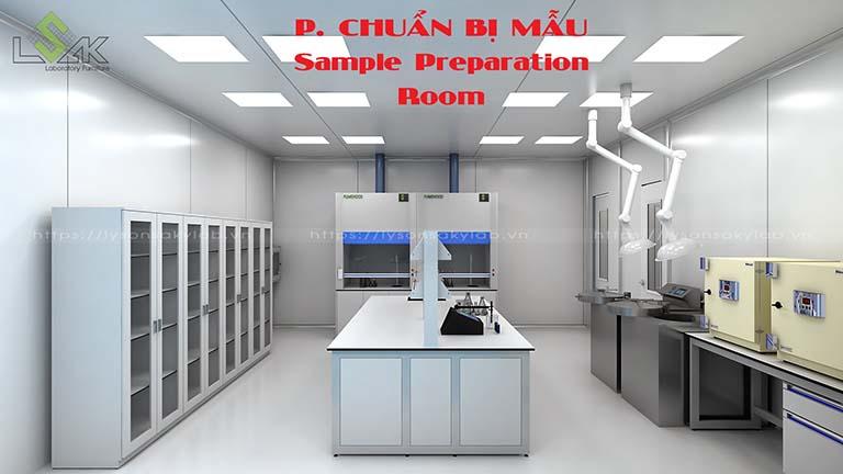 Phòng chuẩn bị mẫu phòng thí nghiệm nhà máy dược phẩm