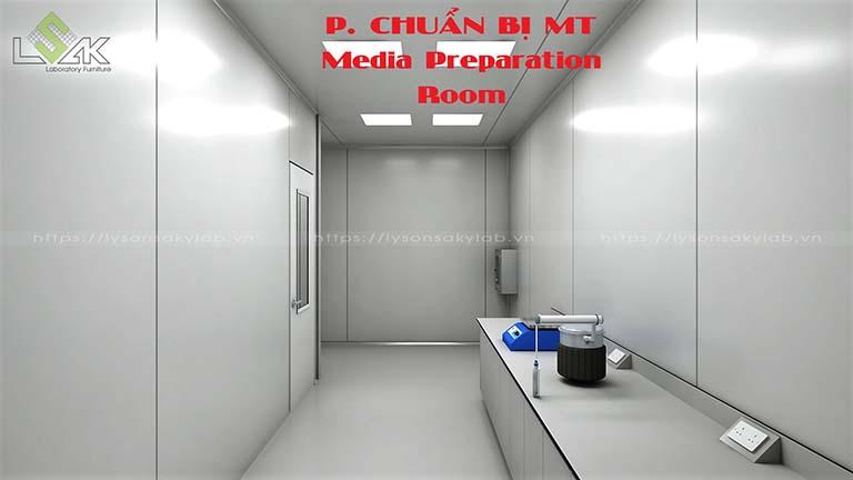 Phòng chuẩn bị môi trường phòng thí nghiệm nhà máy dược phẩm