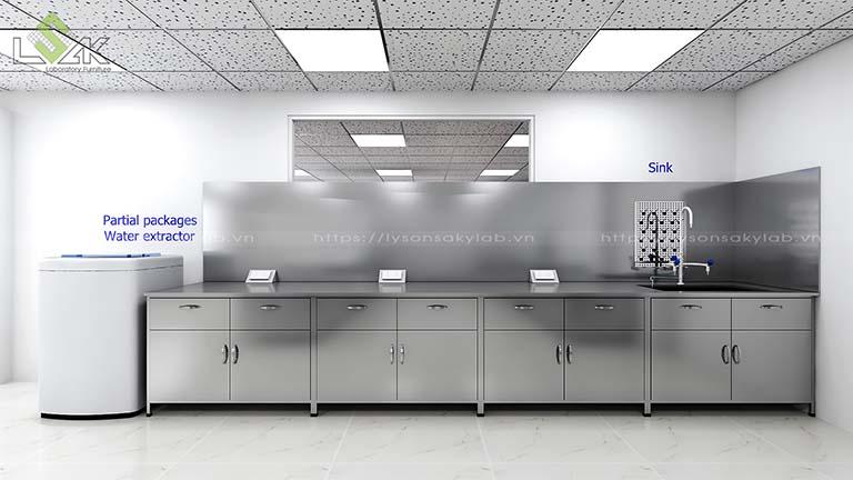 bàn thí nghiệm áp tường có bồn rửa inox nhà máy sợi chỉ Armerfird Việt Nam