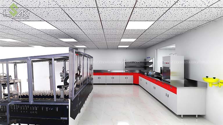 bàn thí nghiệm áp tường mặt bàn inox nhà máy sợi chỉ Armerfird Việt Nam