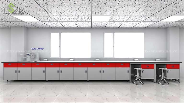 bàn thí nghiệm áp tường mặt bàn nhà máy sợi chỉ Armerfird Việt Nam