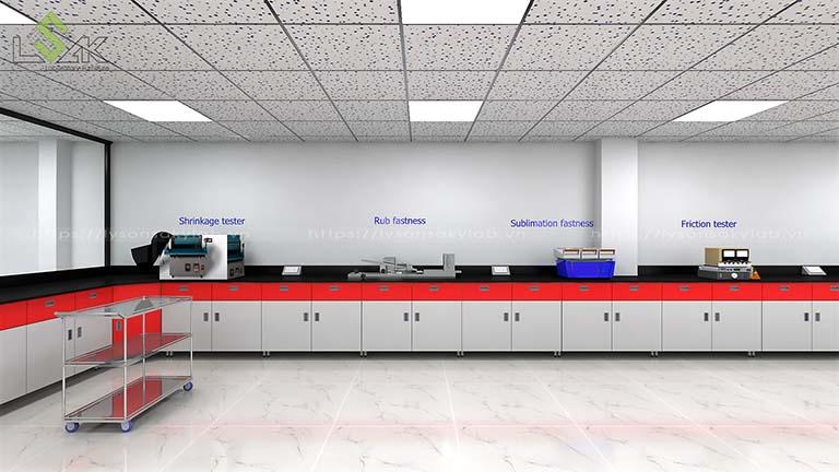 bàn thí nghiệm áp tường nhà máy sợi chỉ Armerfird Việt Nam