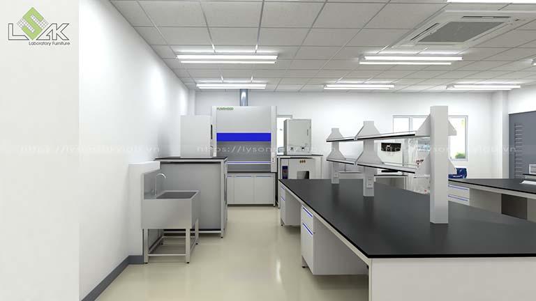 Bàn thí nghiệm trung tâm có kệ trên bàn phòng thí nghiệm sản xuất nguyên liệu thực phẩm