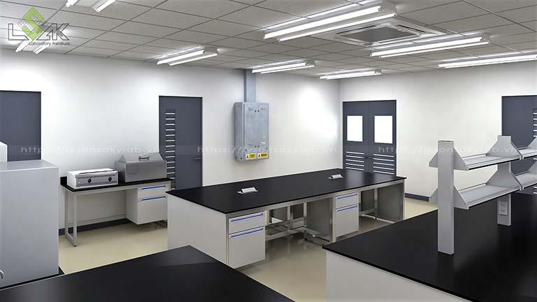 Bàn thí nghiệm trung tâm không có kệ trên bàn phòng thí nghiệm sản xuất nguyên liệu thực phẩm