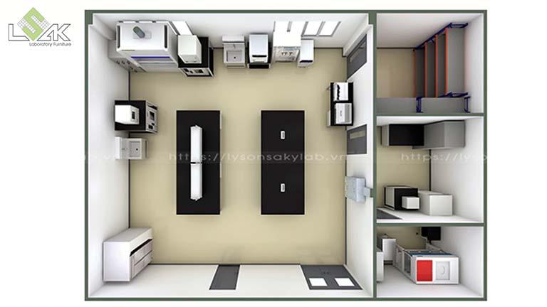 Phối cảnh 3D bố trí thiết bị nội thất phòng thí nghiệm sản xuất nguyên liệu thực phẩm