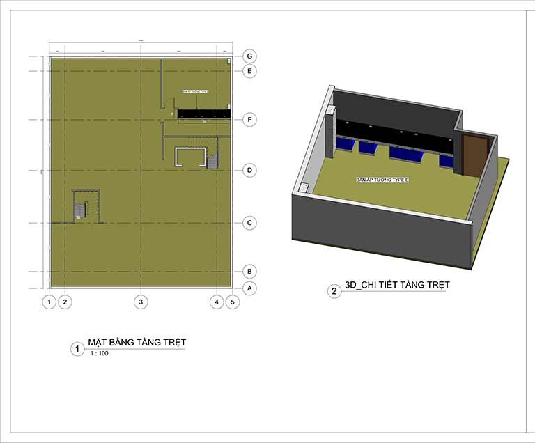 Phối cảnh mặt bằng tầng 1 thiết kế trung tâm nghiên cứu và phát triển sản phẩm Nanpao Resin Việt Nam