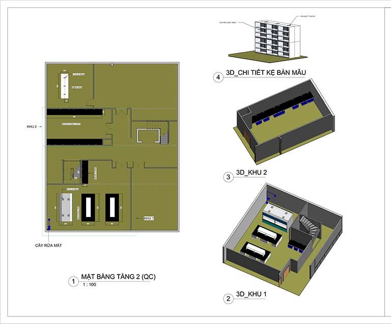 Phối cảnh mặt bằng tầng 2 thiết kế trung tâm nghiên cứu và phát triển sản phẩm Nanpao Resin Việt Nam