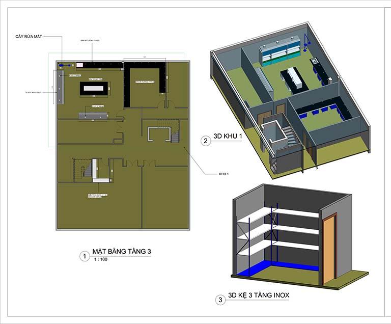 Phối cảnh mặt bằng tầng 3 thiết kế trung tâm nghiên cứu và phát triển sản phẩm Nanpao Resin Việt Nam