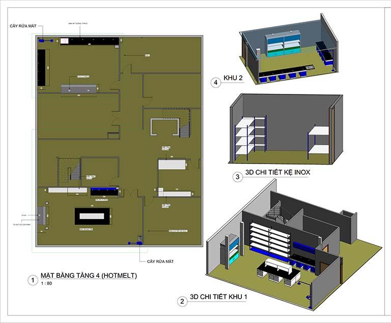 Phối cảnh mặt bằng tầng 4 thiết kế trung tâm nghiên cứu và phát triển sản phẩm Nanpao Resin Việt Nam