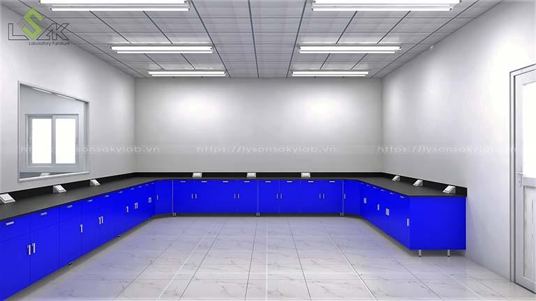 Dãy bàn thí nghiệm áp tường hộc tủ kín