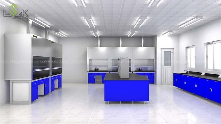 Dãy tủ hút khí độc phòng thí nghiệm được đặt trên bàn