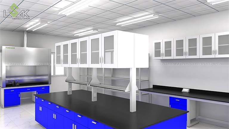 Bàn thí nghiệm trung tâm có kệ để hóa chất và tủ treo cố định trên bàn