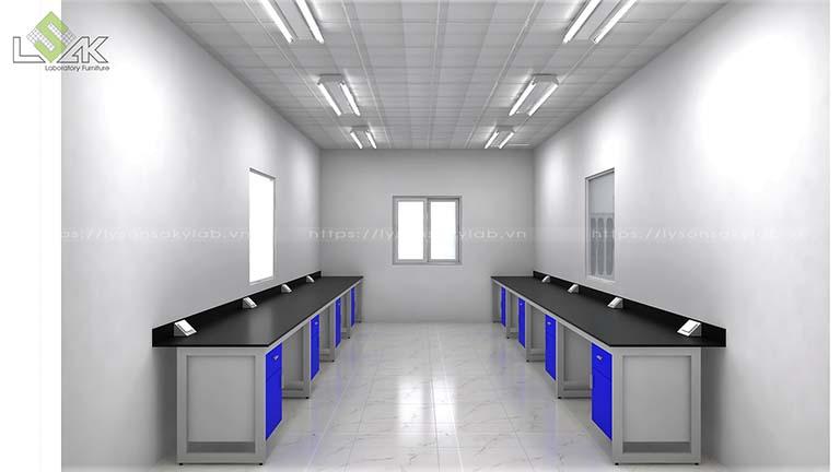 Dãy bàn thí nghiệm áp tường thiết kế hộc tủ treo