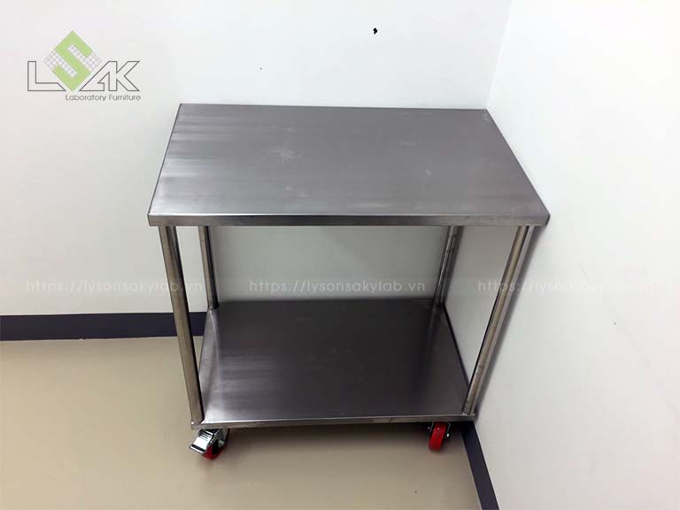 xe đẩy inox phòng thí nghiệm clean room inox cart