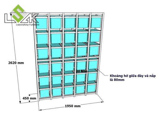Bản vẽ kích thước kệ lưu mẫu dạng hộp