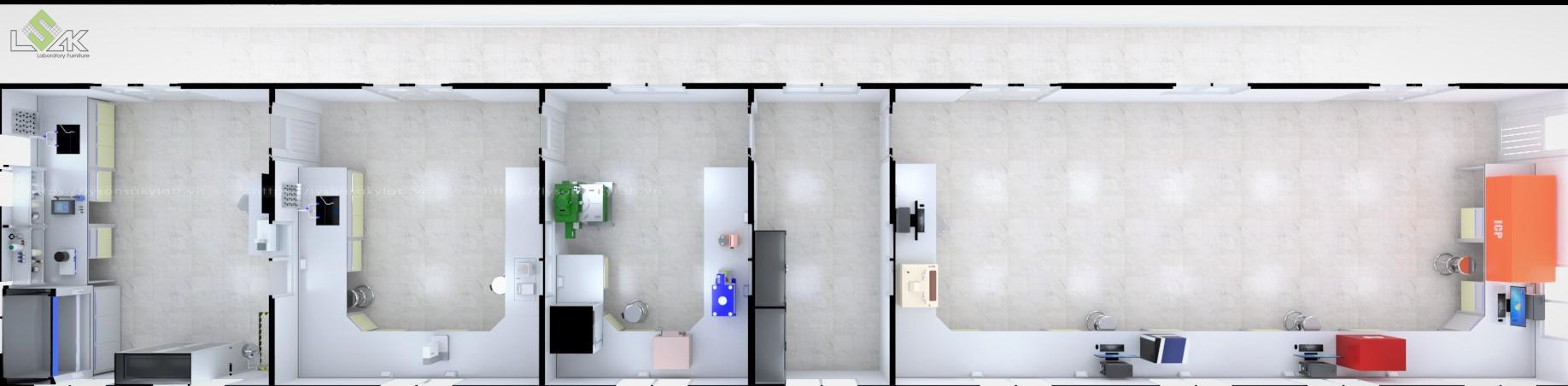 Phối cảnh bố trí mặt bằng nội thất thiết bị phòng thí nghiệm nhà máy khai thác khoáng sản