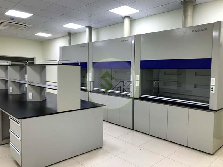 Dãy tủ hút khí độc phòng thí nghiệm nhà máy sản xuất dầu nhớt Công ty Maxihub