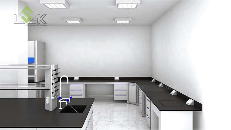 Thiết kế 3D bàn thí nghiệm áp tường phòng thí nghiệm Công ty MAXIHUB