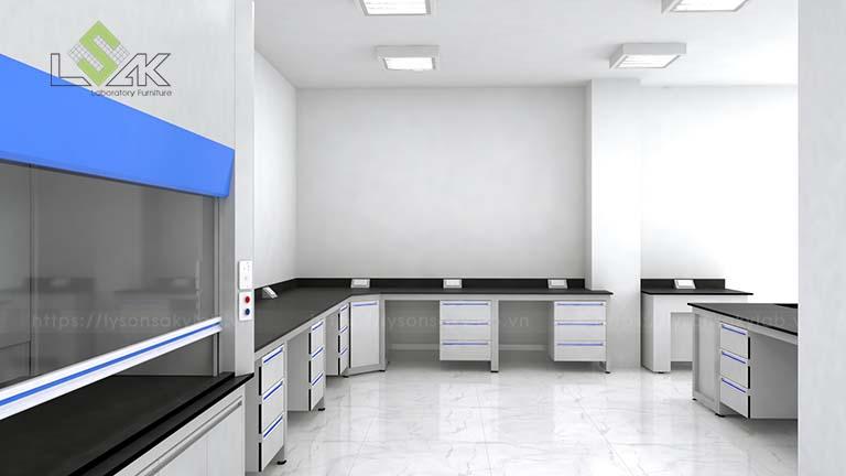 Thiết kế bàn thí nghiệm áp tường thí nghiệm MAXIHUB